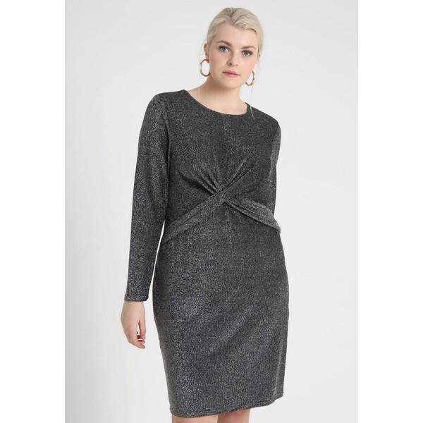 499dd885c3ce8 MICHAEL Michael Kors PLUS TWIST WAIST Sukienka koktajlowa black silver  MK121C0B1 ...