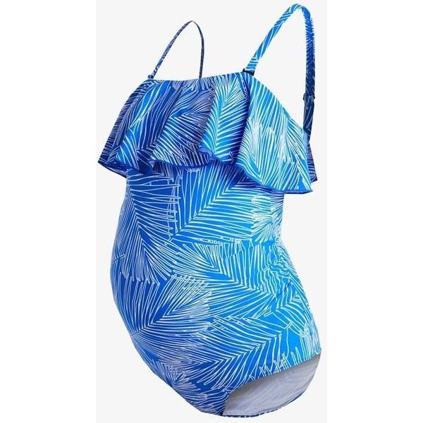 JoJo Maman Bébé PALM RUFFLE SWIMSUIT Kostium kąpielowy blue J2689E007